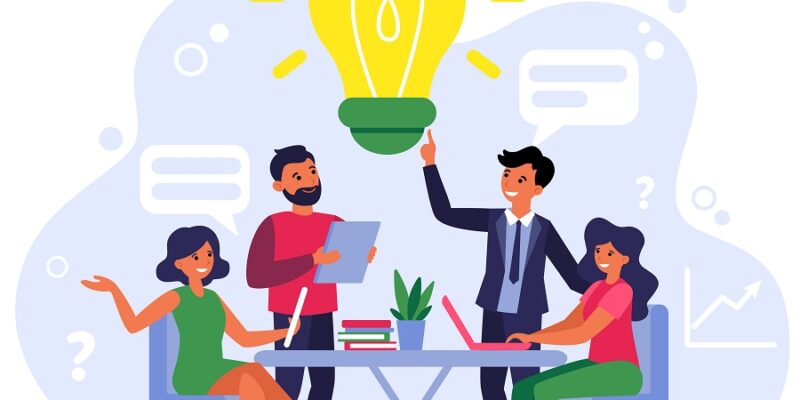 Company employees sharing thoughts and ideas flat vector illustration. Colleagues thinking in team about problem. Brainstorm, startup and teamwork concept